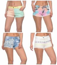 South Beach Womens Ladies Pastel Summer Holiday Shorts Denim Cotton 8 10 12 14