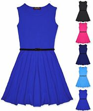 S182 New Girls Skater Dress Kids Party Dresses With Free Belt Age 7 to 13 Years