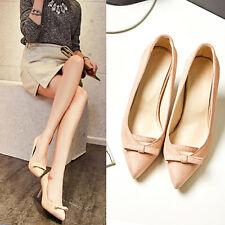 2016 New Women Mid heels Pumps Shoes Lovely bowknot Pointed toe Sandal Plus size