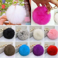 Lovely Rabbit Fur Ball PomPom Cell Phone Car Pendant Handbag Key Chain Ring