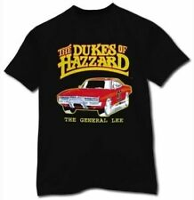 Adult Black TV Show Series Dukes of Hazzard General Lee Charger T-shirt Tee