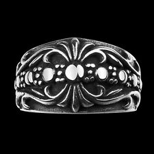 316L Stainless Steel Fashion Mens Punk Biker Floral Band Ring Jewelry Size 8-11