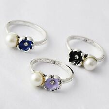 White Gold Filled Three colors Enamel Imitation Pearl Band Ring Size 6 7 8 9