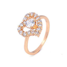 Love 18K Yellow Gold Plated Clear Heart Shape Zirconia Promise Love Band Ring
