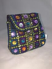 Ethnic Handmade Embroidered Tribal Style Fashion Coin Bag Purse Black MultiColor