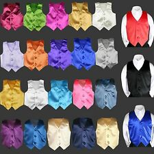 23 color Satin Vest Only Boy Kid Teen Young Men for Formal Tuxedo Suit 8-28