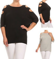 Bubble B Women's Juniors Plus Size 3/4 Batwing Cut Out Sleeve Tunic Top 1X to 3X