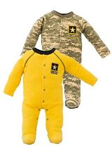 Infant 2 Pc Gold and ACU Cotton Crawler Set