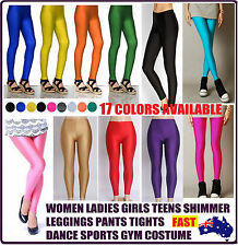 WOMAN LADIES GIRLS TEEN SHIMMER TIGHTS TIGHT LEG COLORS PANTS DANCE GYM SPORTS