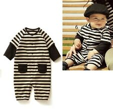 Black Stripes Baby Boy Grow Long Sleeved Bodysuit Romper Onesie Jumpsuit