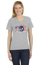 Support USA Runners Team American Flag V-Neck Women T-Shirt Running