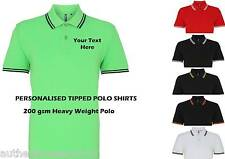 Personalised Tipped Printed Polo Shirt ideal  Workwear event Customised uniform