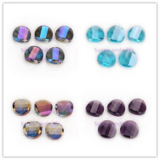 10/20pcs Charms Faceted Glass Crystal Twist Tile Beads Loose Spacer 18mm