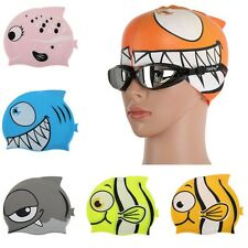 Children Kids Silicone Swim Swimming Cute Cartoon Fish Shark Waterproof Cap Hat