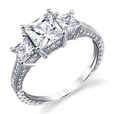 925 Sterling Silver Princess Cut 3 Stone Engagement Wedding Ring 1.5 Carat Total