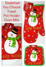 New Snowman Christmas Dish Towel Potholders Oven Mitt Holiday Dining~You Choose