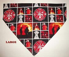 Fire Fighters Firemen Heroes Dalmation Over Collar Slide On Pet Dog Cat Bandana
