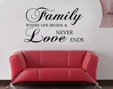 FAMILY WHERE LIFE BEGINS Decal WALL STICKER Quote Home Decor Art Love SQ78