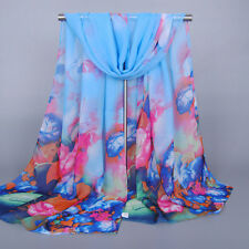 New Colorful Flowers Soft Women Fashion Georgette Scarf Wrap Shawl Scarves