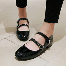 New Womens Patent Leather Ballet Flats Strappy Round Toe Oxfords Casual Shoes