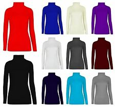 NEW WOMENS LONG SLEEVE TURTLE POLO NECK TOP LADIES HIGH TURTLE NECK JUMPER 8-26