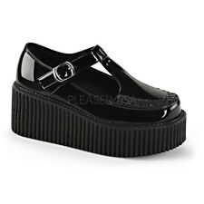 Demonia Creeper-214 Shiny Black Buckle Creepers - Size 7 US Women's - Gothic,Got