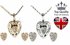 Ladies Silver Made with Swarovski Crystal Elements Heart Necklace & Earrings Set