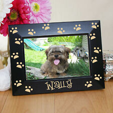Engraved Paw Prints Personalized Black Picture Frame Photo Pet Dog Name Gift