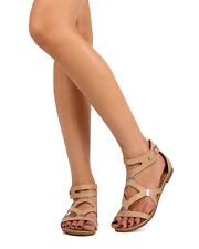 New Women Breckelles Ruby-61 Leatherette Strappy Cut Out Gladiator Sandal