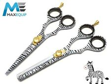 "Professional Hairdressing Hair Cutting Scissors Set 5.5"" ZEBRA DESIGN Shears"