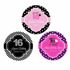 Custom Personalized Round Sweet 16 Birthday Party Favor Labels Stickers Q21117