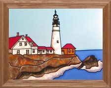 "Silver Creek Maine Portland Head Lighthouse ~ 13.5"" x 16.5"" Suncatcher"