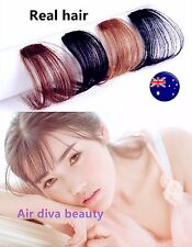 Lady 100% Human Hair Natural Clip on Bang Front Fringe REAL Wig Piece extension