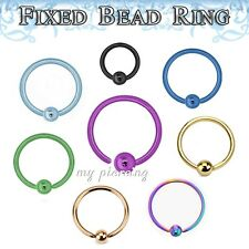 1PC. 20g,18g,16g,14g Anodized Fixed Ball Captive Bead Ring Ears Tragus Nose Ring