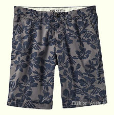 "NWT Old Navy Mens Slim Fit Twill Floral Pattern Shorts Waist 29"" / 40"" Gray Blue"