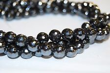 "Gray Hematite Faceted Round Beads 6/8/10/14/15mm 15.5"" Per Strand R-F-HEM-0121"