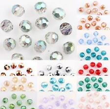 50/100Pcs AB Plated Faceted Czech Crystal Glass Round Loose Spacer Bead 4MM