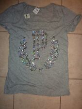 "VICTORIAS SECRET PINK BLING SEQUIN WREATH ""P"" CUFFED SCOOPNECK TEESHIRT NWT"