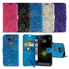 LG G5 - Textured Diamond Flower Wallet Case Cover with SP & Mini Stylus