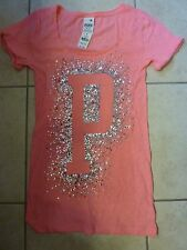 "VICTORIAS SECRET PINK BLING SEQUIN BURST ""P"" CUFFED SCOOPNECK TEESHIRT NWT"