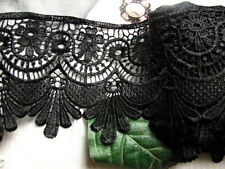 STUNNING 3yards Large Venise Lace Lampshade Trim~ Black~ Victorian Curtain