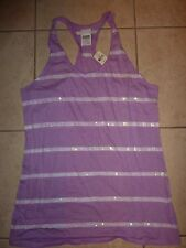 VICTORIAS SECRET PINK BLING IRRIDESCENT SEQUIN STRIPE TANKTOP TEESHIRT NWT