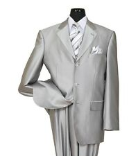 Men's shark skin look suit , wool feel pic stitching design, silver color 58025