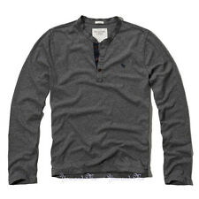 NEW ABERCROMBIE & FITCH LS SHIRT A&F Mason Mountain Henley Tee Dark Heather Gray