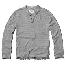 NEW ABERCROMBIE & FITCH L/S Shirt Men A&F Redfield Mtn Henley Tee * Grey Stripe