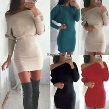 New Fashion Women Sexy Off Shoulder Bodycon Long Sleeve Slim fit Mini Dress EA77