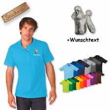 Polo Shirt Shirt Cotton Embroidered Embroidery Dog Poodle + Text of your choice