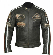 Man's Style retro y Coffee Racer Motorcycle style Biker Leather jacket XL