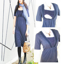 LACEY Maternity Dress Breastfeeding Dress, Nursing Dress BLUE NEW Pregnancy