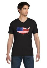 USA American Flag 4th of July Patriotic V-Neck T-Shirt Independence Day